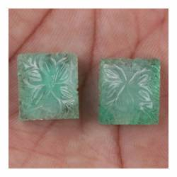 29.74 Ct Natural Colombian Emerald Loose Engraved Square Shaped 2 Piece Pair Handmade Engraving Loose Gems Stone