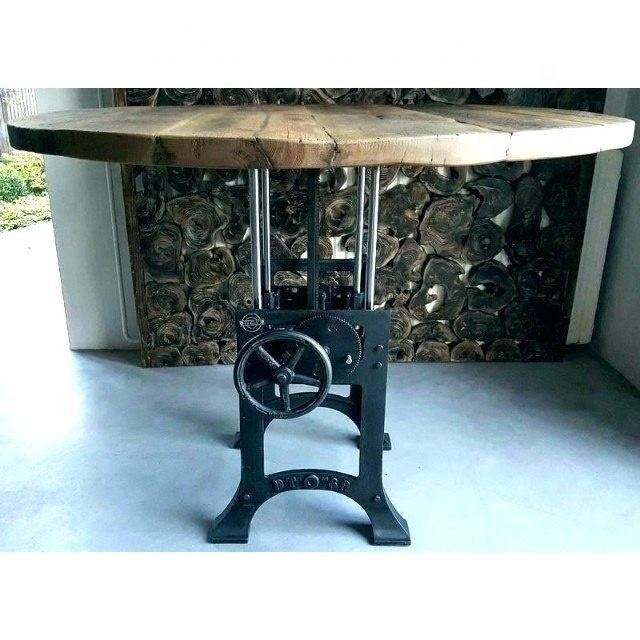 Industrial Iron Crank Round Height Adjustable and Solid Wood Top Crank Table