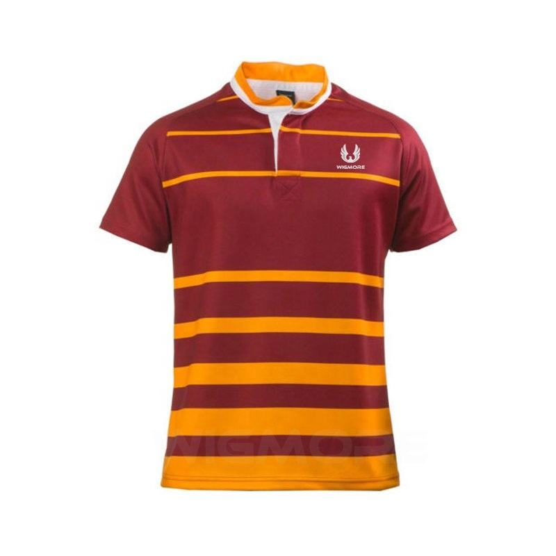 Wholesale Men's Sewn Stripe Half Sleeve Rugby Sports Polo Shirt With Logo Design