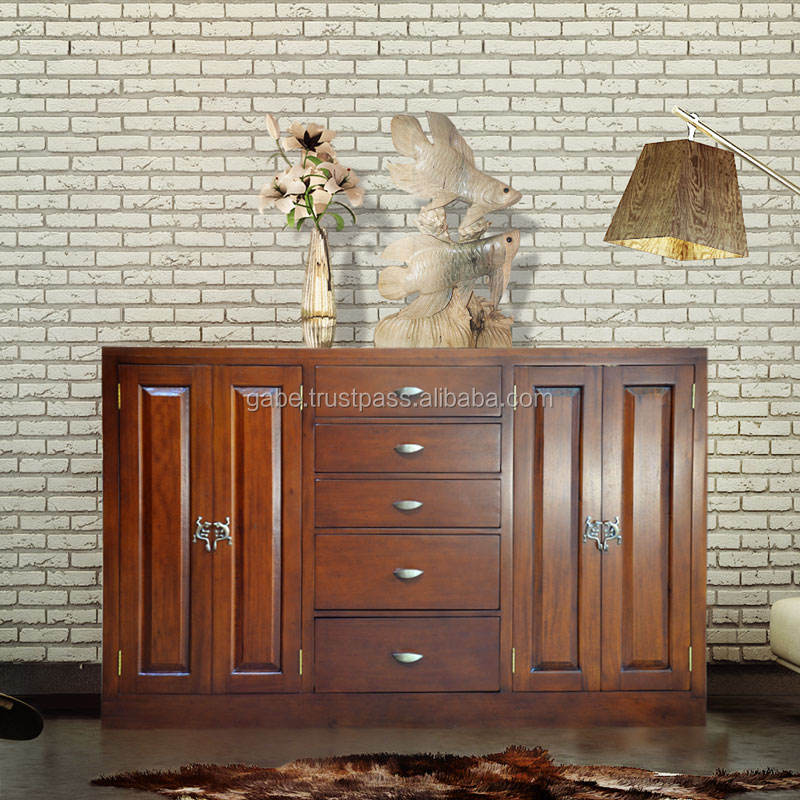 Buffet 5 Drawers Classic Mahogany Wood Furniture