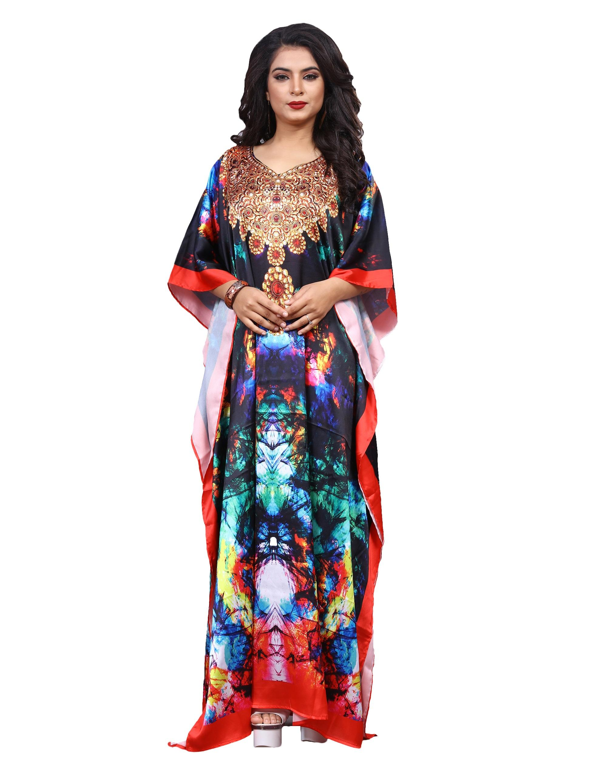 Multi Color Satin Silk Digital Printed Long Kaftans for Women