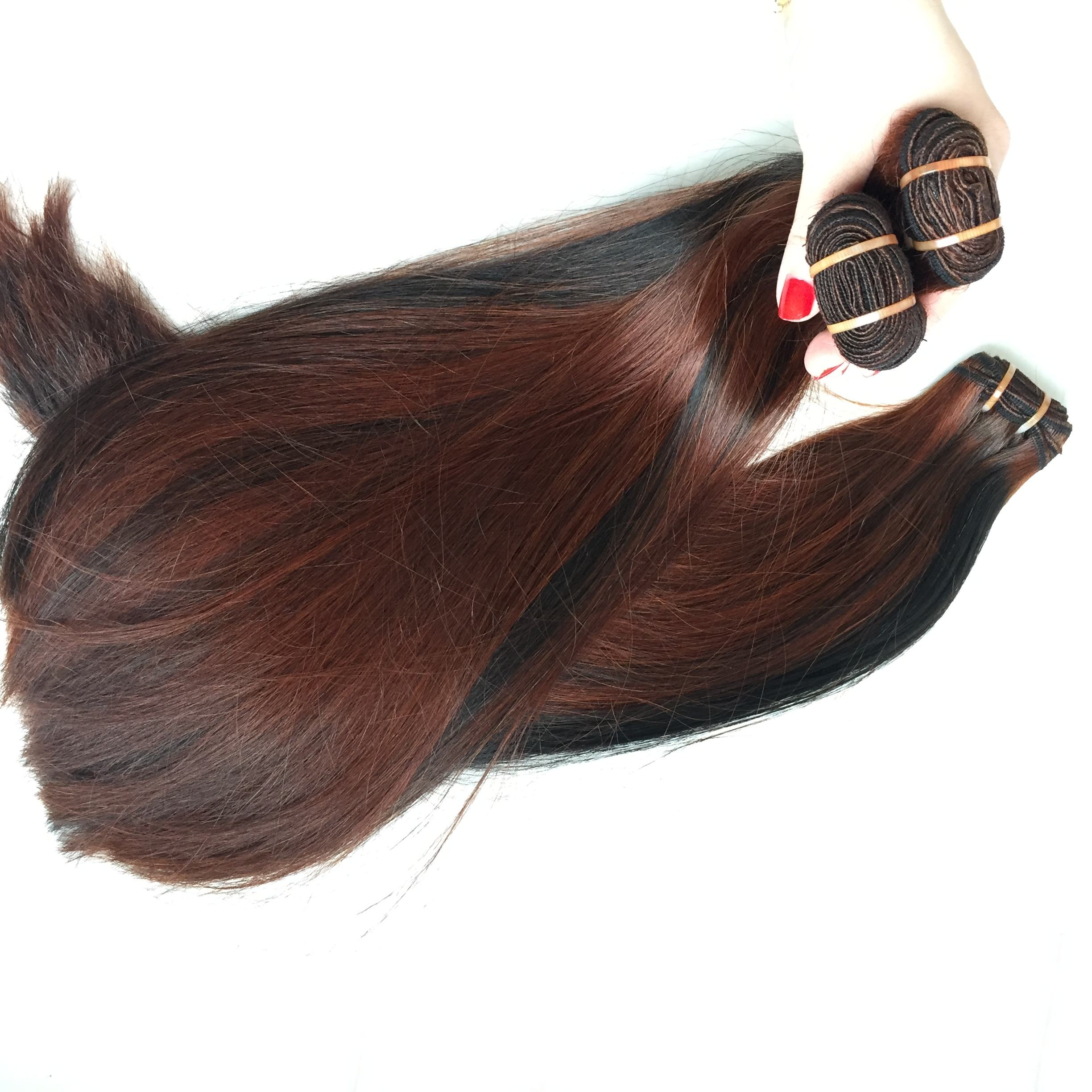 The weft Super Double color highlight straight brazilian 14'' unprocessed virgin and remy hair Livihair Company Joyce