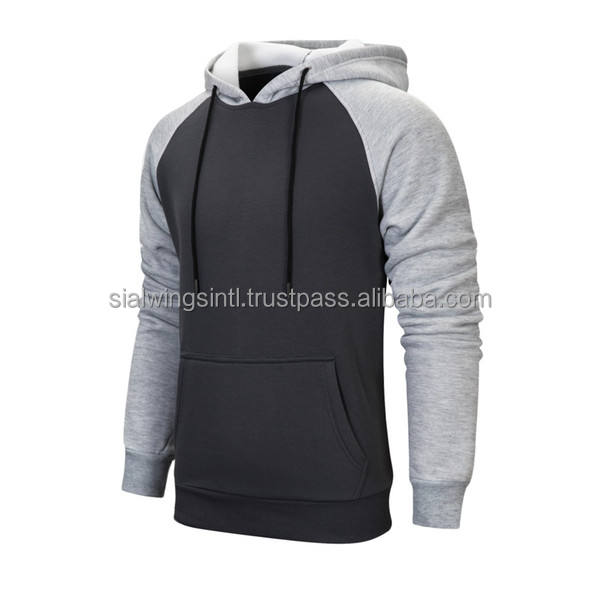 2020 high sold OEM pullover hoodie for men Gray and black custom fleece hoodies sweatshirts Raglan sleeves