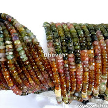 Strands 13 inch Natural Tourmaline Gemstone Rondelle Micro Faceted Beads