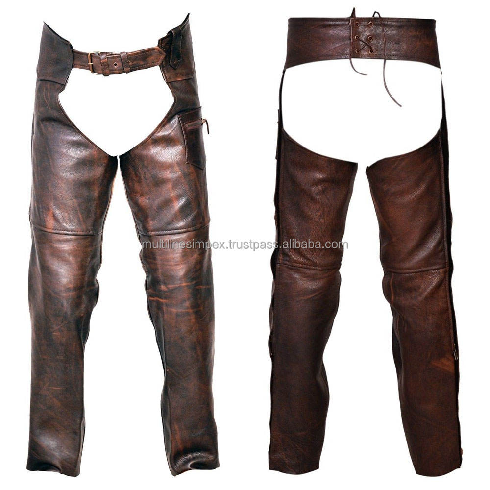 Black color Solid Genuine Leather Motorcycle/bike Riding Chaps with Full Lining Adjustable