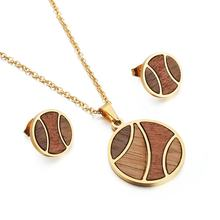 Wood & Stainless Steel Necklace Earrings Jewelry Set