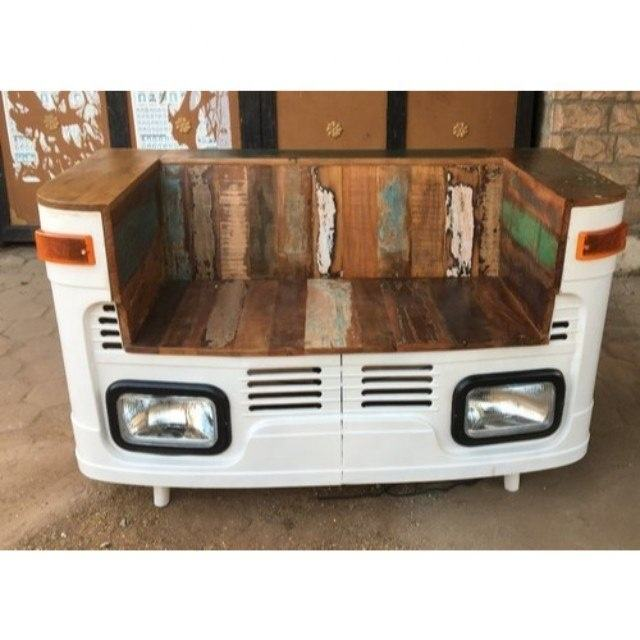 Vintage Industrial Automobile Truck Structure Reclaimed Wood Seat Sofa With Lights