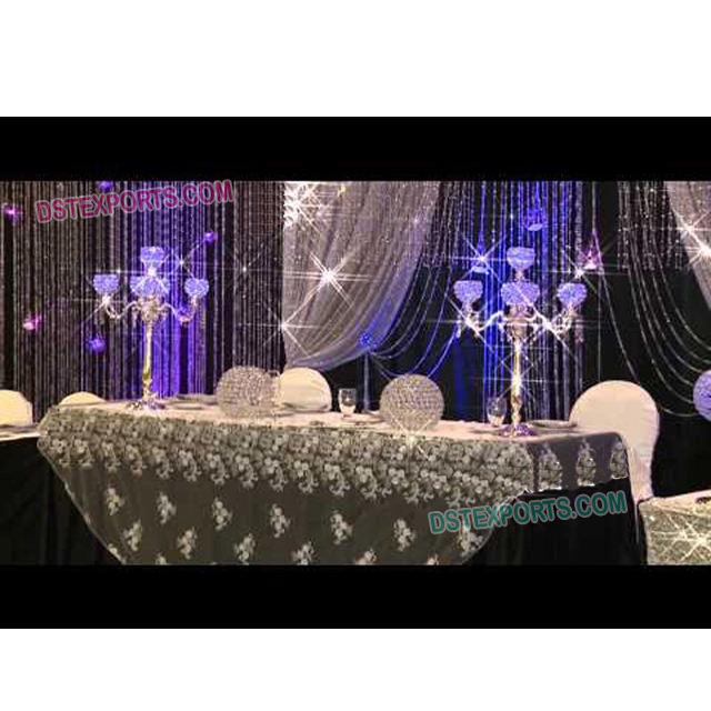 Wedding Table Crystal Candelabra Stands Indian Wedding Silver Crystal Candelabra Wedding table centerpieces decoration