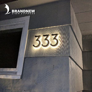 6000k Backlit led house metal numbers stainless steel numbers