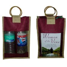 Best Selling Indian Origin Cane Handle Front Transparent Window 2 Wine Bottle Jute Bag