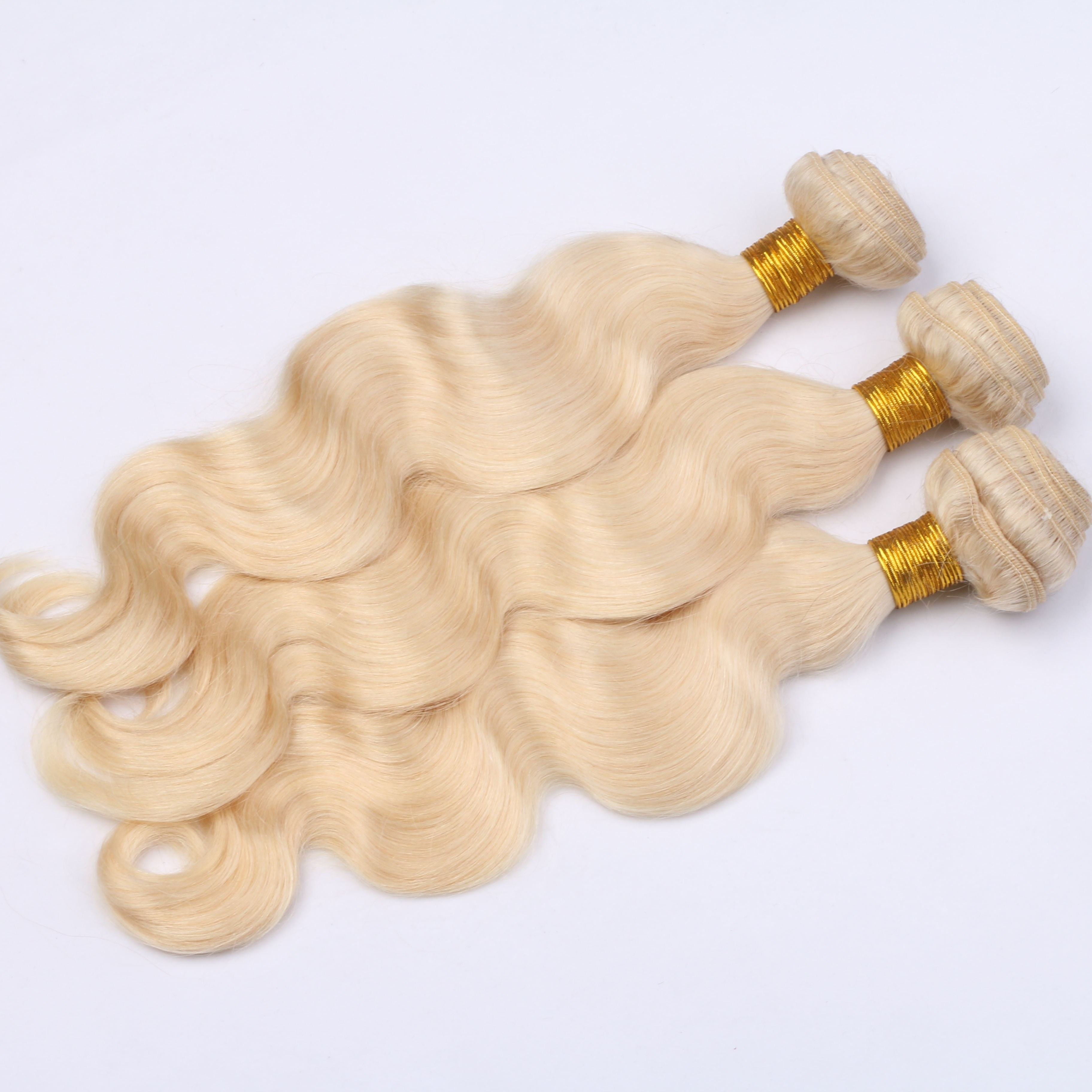 hair bundle #613 blonde body wave brazilian hair use machine double weft no shedding no tangling wholesale price beautiful