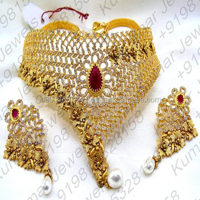 Wedding Wear Heavy 22kt Gold Plated Indian Statement Ruby Color Fine CZ Diamond Look Stone Pearl Beaded Choker Necklace