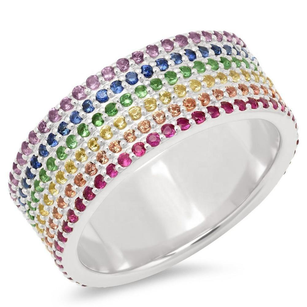 LOZRUNVE 18k Gold Plated Jewelry 925 Sterling Silver Rainbow Wide Band Cigar Ring