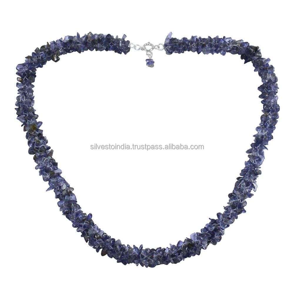 Single Strand- Handmade Jewelry Manufacturer 925 Silver- Uncut Iolite Chips- Spring-ring Hook Necklace Jaipur Rajasthan India