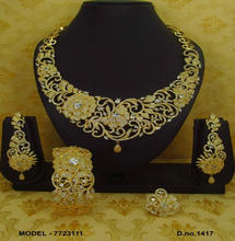 Gold plated american diamond necklace set for women