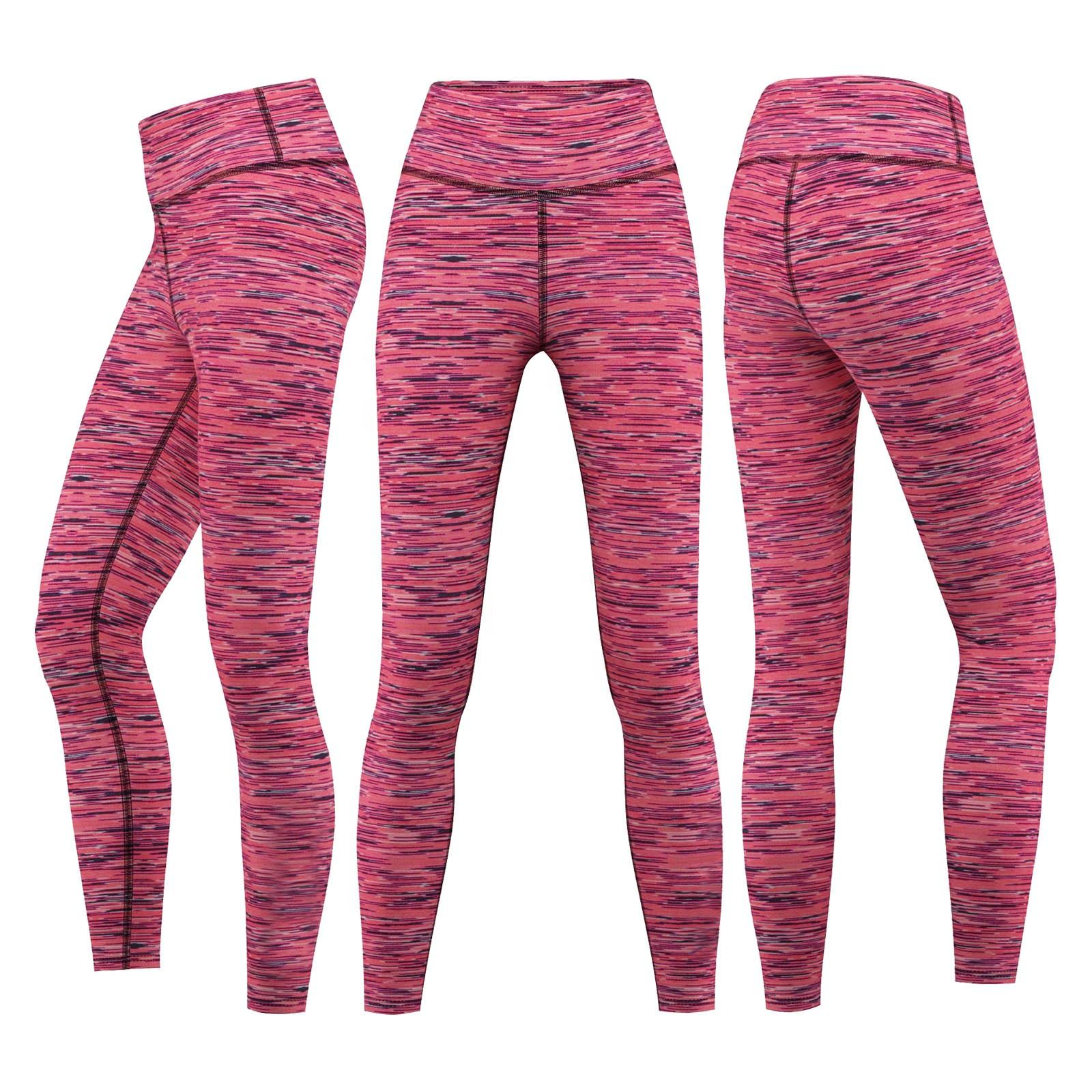 high waist legging for fitness, printed yoga and gym sports leggings, Two tune Melange Legging