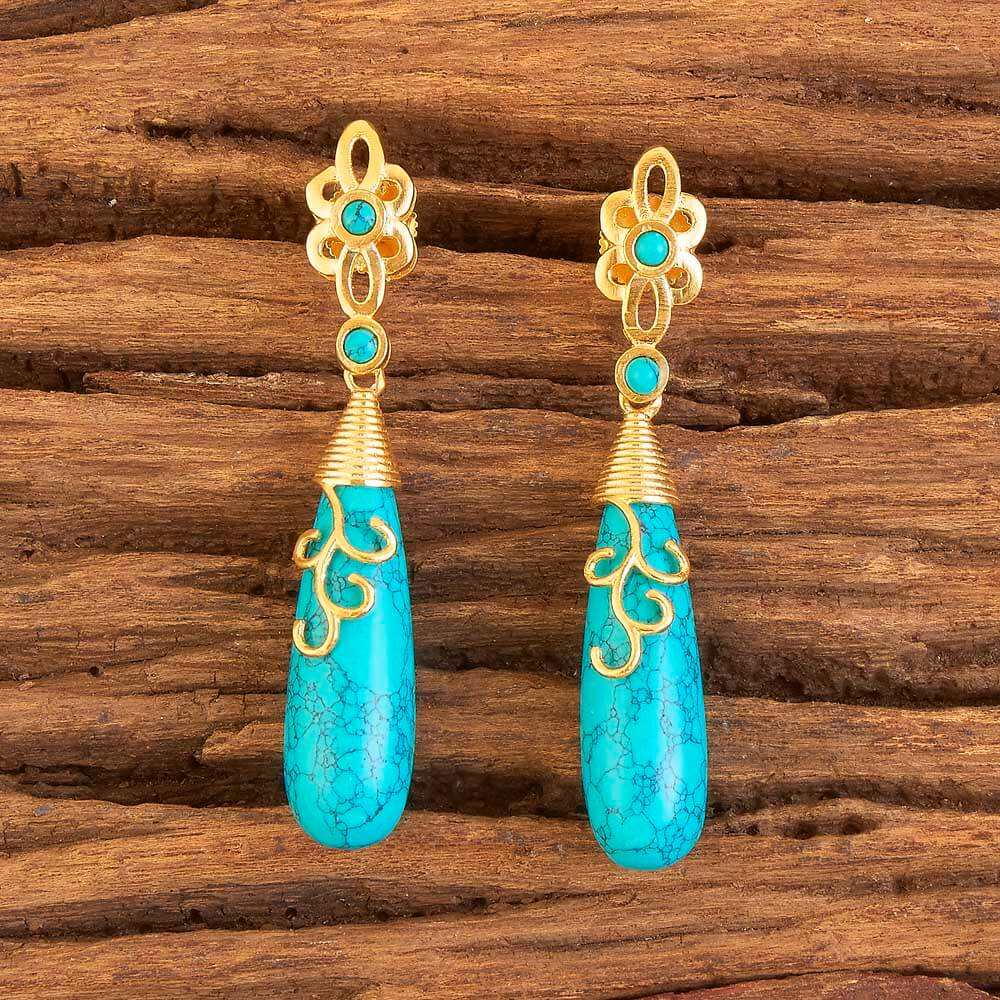 Gold Plated Classic Earring in CZ Jewelry 58389 turquoise