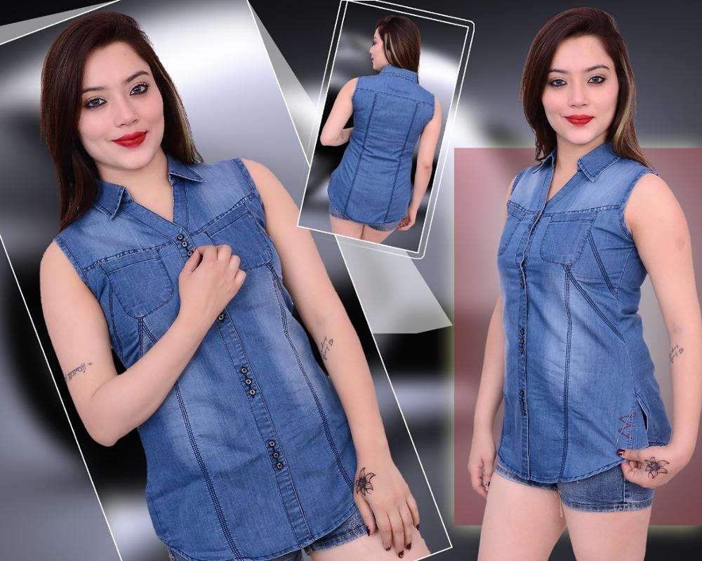 Sleeveless Denim shirt and top for ladies and kids