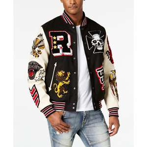 Letterman Varsity Jackets Patches Custom Cheap Dark Black Wool Varsity Jackets With Genuine White Cow Leather Sleeves