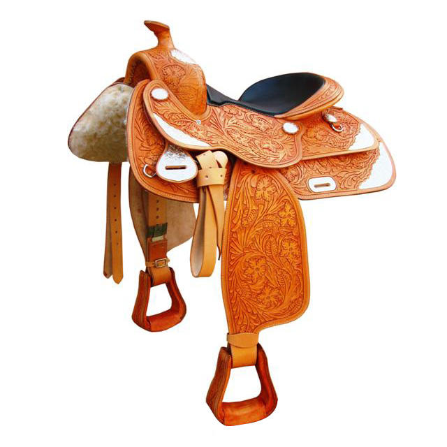 Leather Horse Hand Carved Western Saddle With Silver Fitting