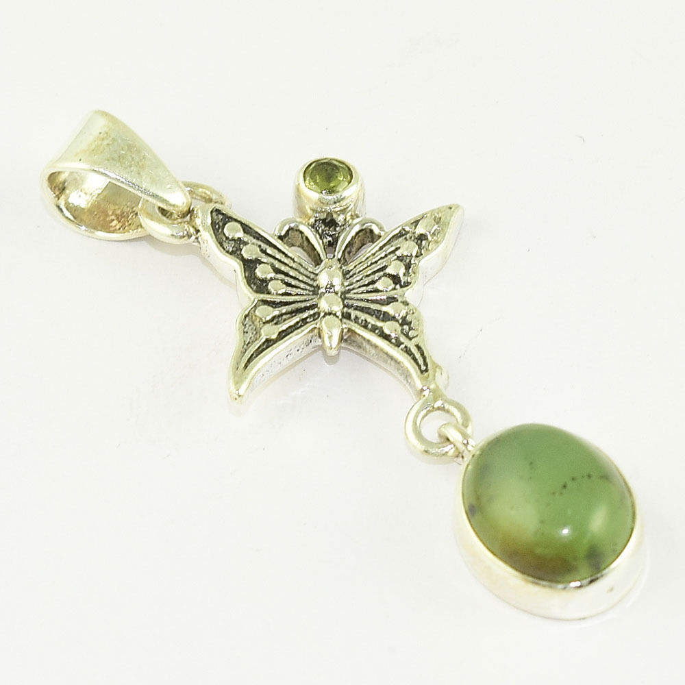 Souvenir looking 925 sterling silver jade pendant exporter antique design wholesale silver jewelry india