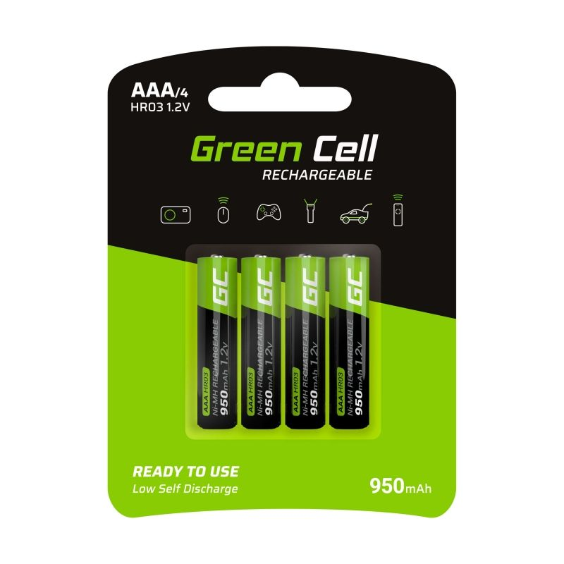 4x AAA batteries rechargeable 950mAh HR03 Green Cell