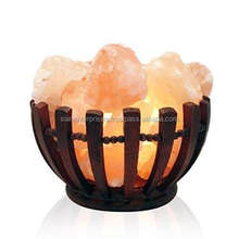 Crystal Decoration Salt Lamp with Salt Chunks in Cylinder Design Metal Basket and Dimmable Cord-Sian Enterprises