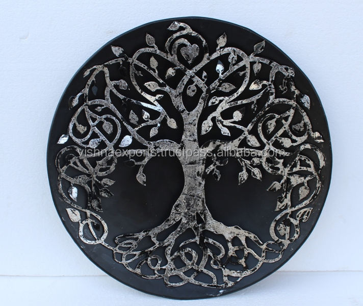 Silver Tree Metal Wall Art With Black Round Wall Mount Trivet