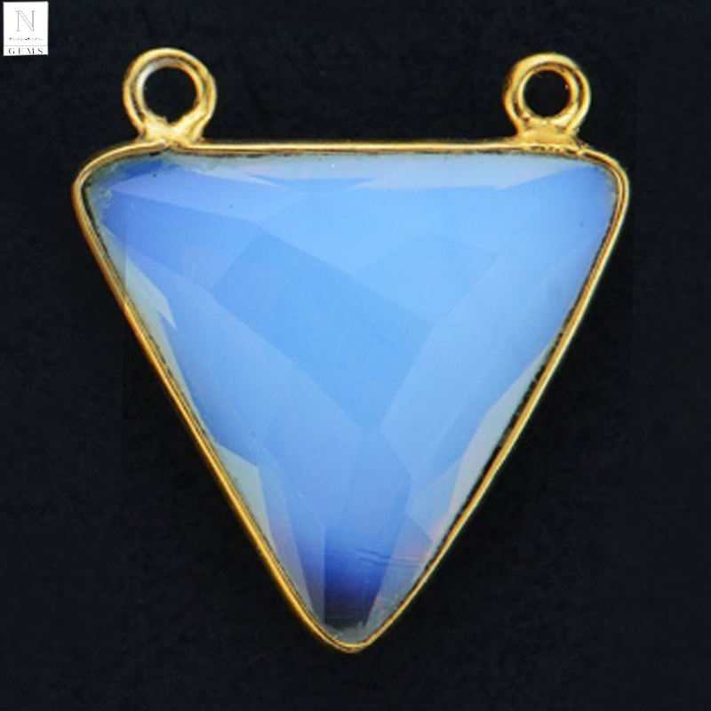 Gemstone connector 17x20mm trillion shape white opal stone double bail gold plated pendant
