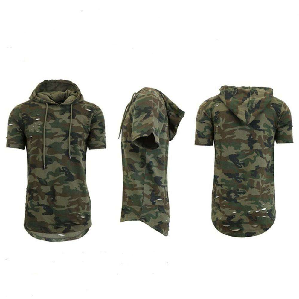 2019 Men Ripped Hole Loose Casual Camouflage T shirts Fashion Summer T-shirt Streetwear Hooded T Shirt
