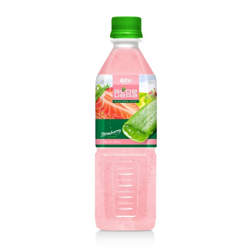 Good Taste Good Health Manufacturer From Vietnam 500ml Pet Bottle Strawberry Flavor Aloe Vera Drink