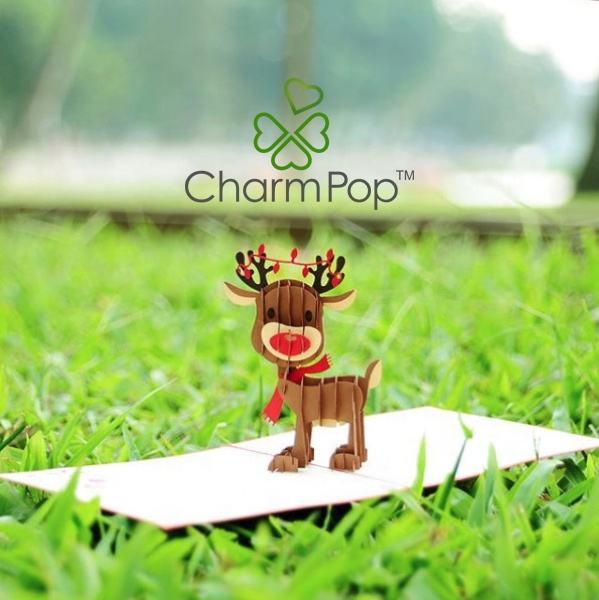 Baby Rendier Pop Up Card/Custom Kerstkaarten 3D Pop Up Wenskaarten