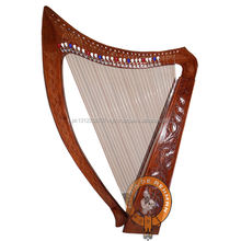 36 Strings Rosewood Celtic Irish Engraved Harp with Lever Extra Strings & Tuning