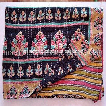 vintage kantha quilt indian reversible cotton home decor blanket throw