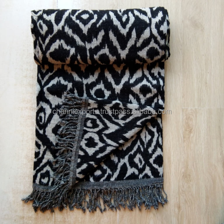 Beautiful indian designer high quality multipurpose boiled wool throws blankets