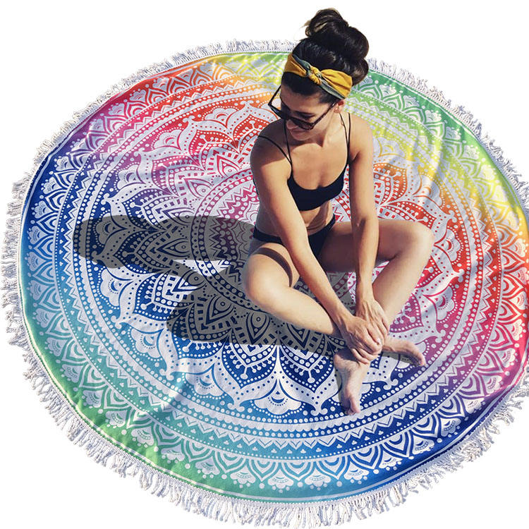2019 Fabexcel Terry Cloth printed microfiber flamingo or mandala hot selling custom large Round Beach Towel
