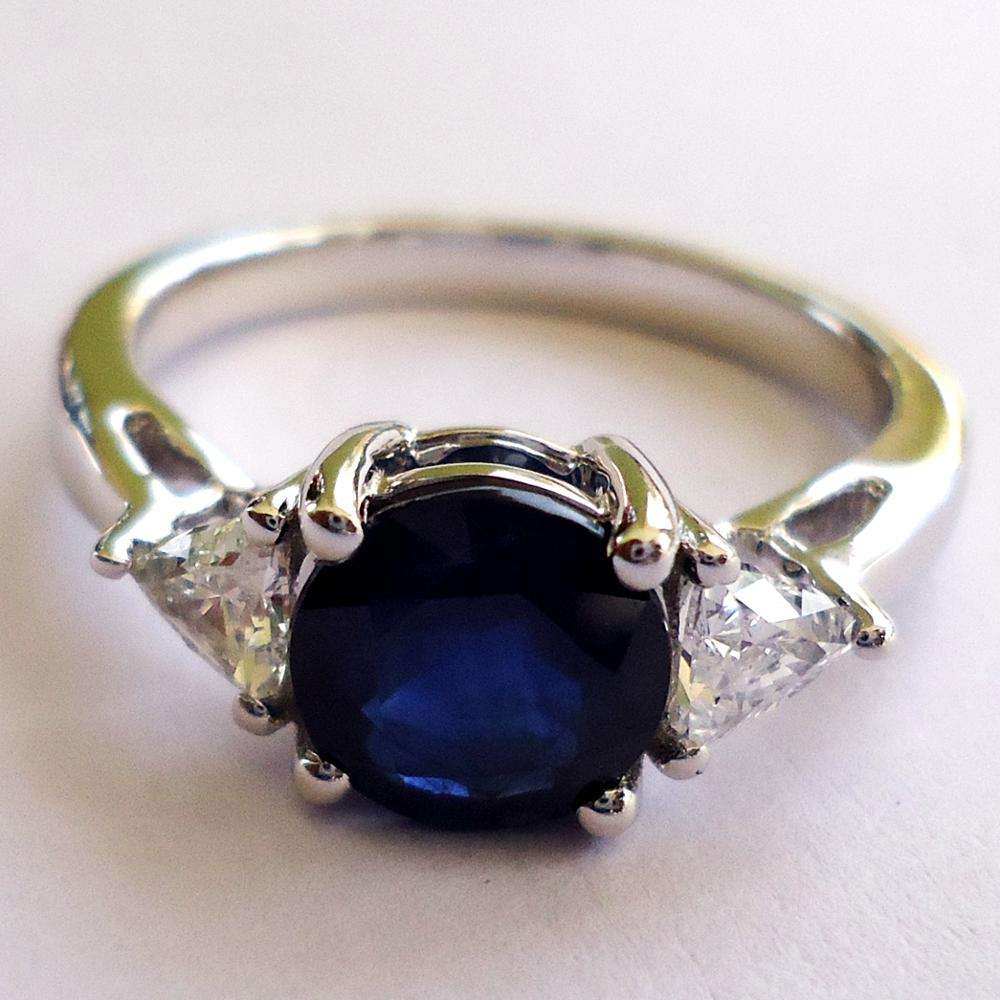 Genuine Blue Sapphire Triangle Diamonds 18K White Gold Ring