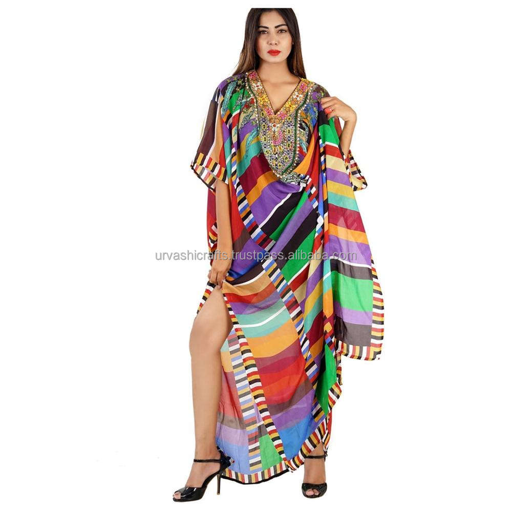 New collection for Women's Wear Multi Colour Silk 3D Digital Printed Kaftan with embellishment for Party Wear Dress