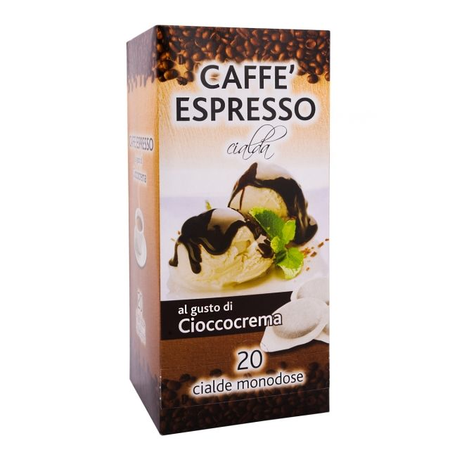 ITALIAN FLAVOR COFFEE PODS- 20 PODS BOX CHOCOLATE CREAM - GROUND COFFEE PODS