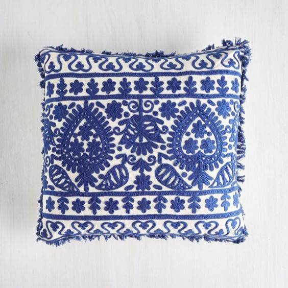 India Decor Suzani Bordir Sarung Bantal dengan Renda Perbatasan/Tangan Wol Aari Bordir Dekoratif Bantal Cover Turki Gaya