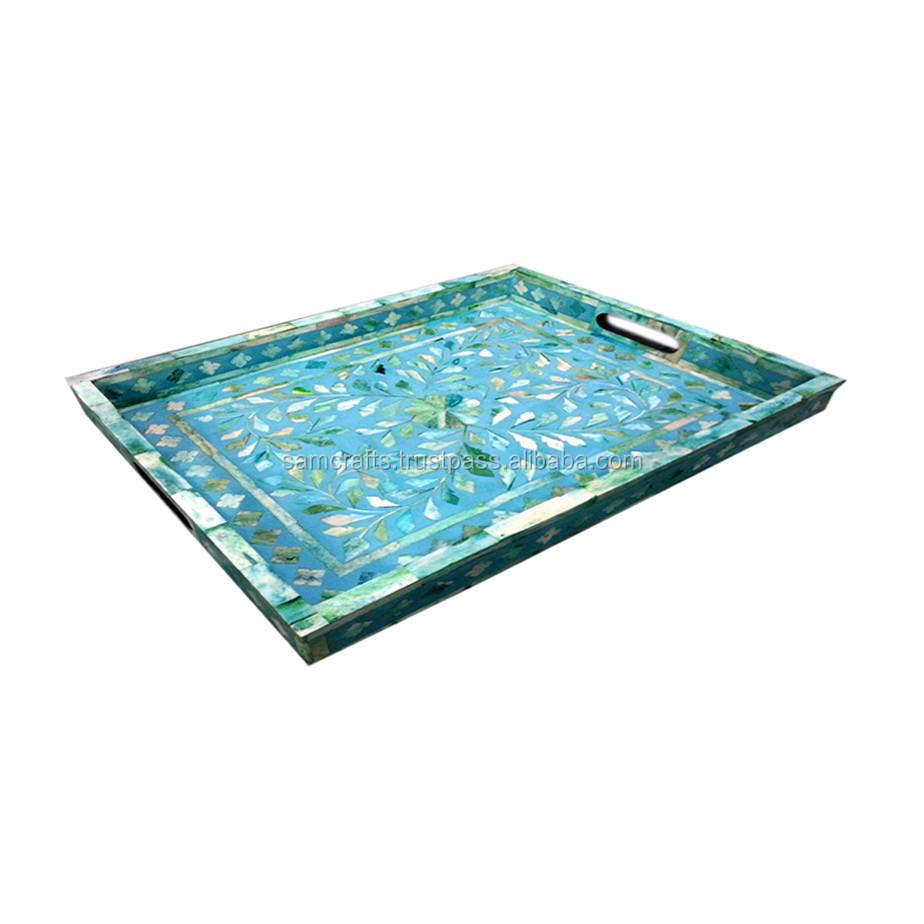 Indian Handmade Beautiful Shell Inlay Serving Trays