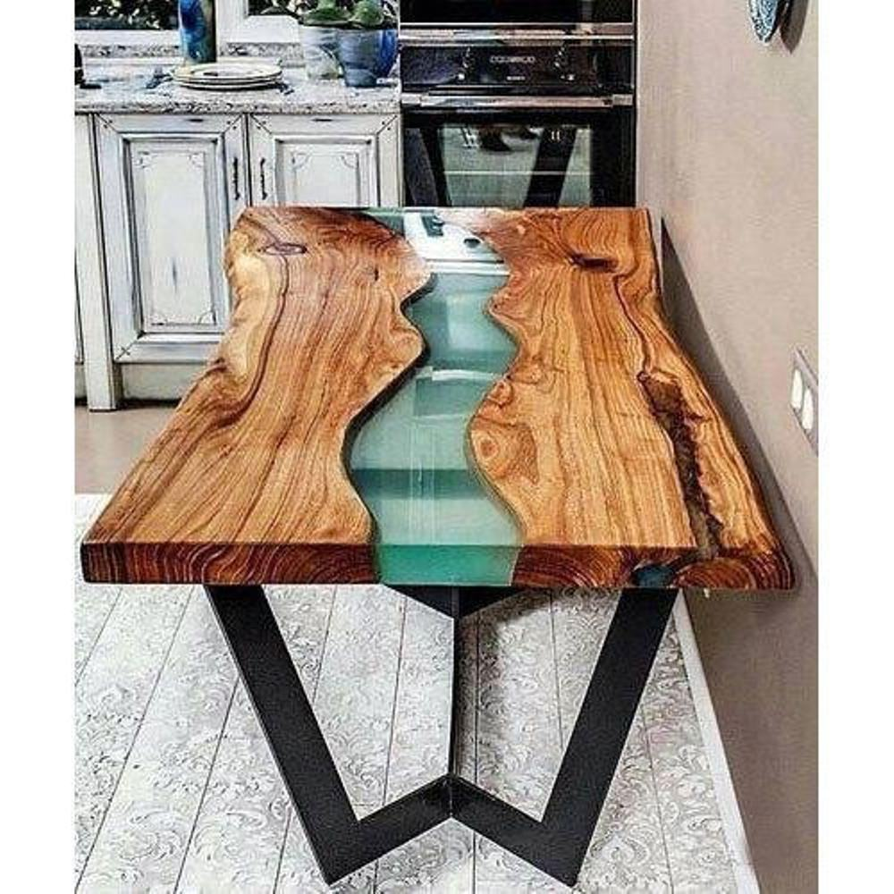 Epoxy Resin River Wooden Dining Table