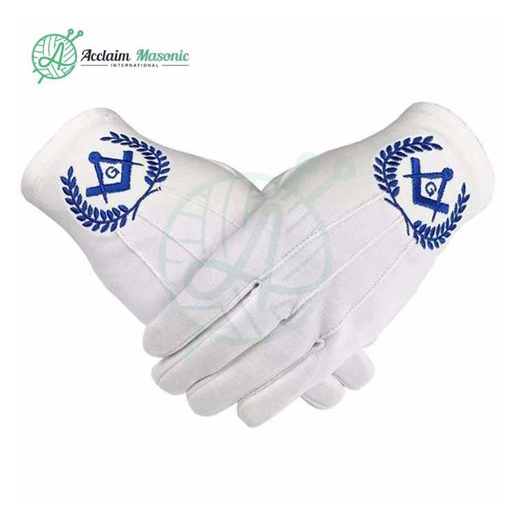 Freemason Masonic Regalia Blue Lodge 100% Cotton Gloves Square Compass G Symbol