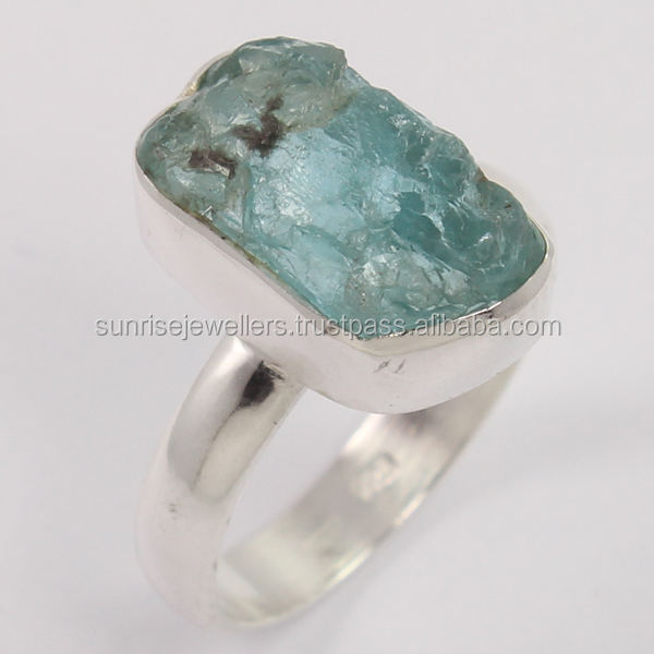 APATITE Raw Rough Gemstone 925 Sterling Silver Ring, Wholesale Silver Jewellery, Silver Jewelry Exporter