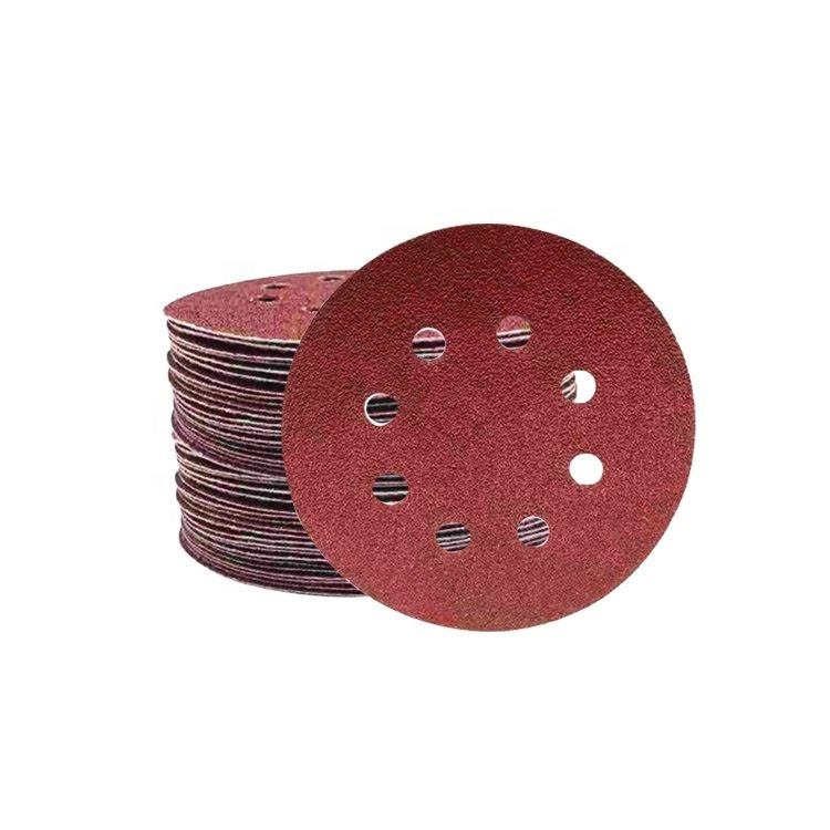 100PCS 5 Inch 8 Holes Aluminum Oxide hook and loop grit 40-2000# sanding disc for polishing