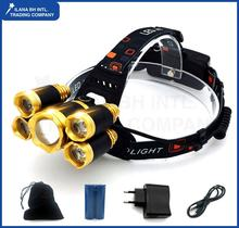 10000 Lumens LED Headlight Headlamp Headlight 1 * T6 + 4 * XPE LED Head Lamp Flashlight Waterproof Torch yellow 18650 Rechargeab
