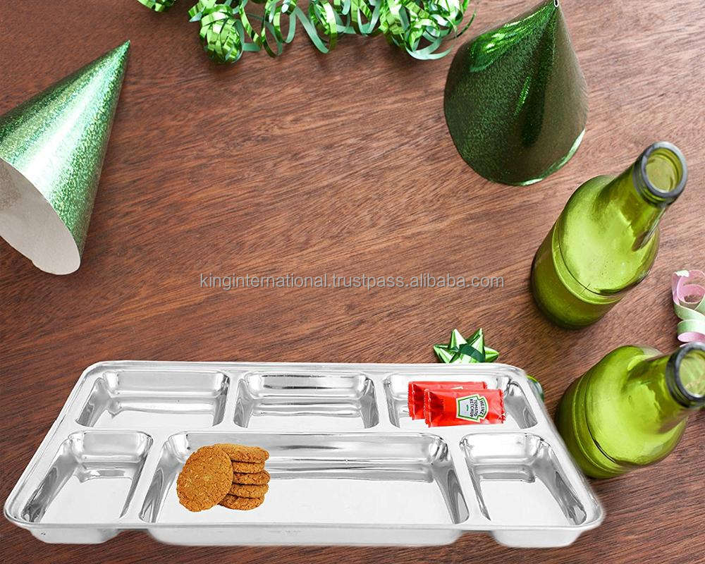 Hot sale stainless steel food containers mess compartment tray