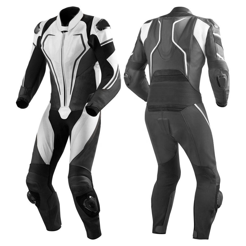 Leather Motor Bike Racing Suit Black Mens Protective Motorbike Racing Leather Suit