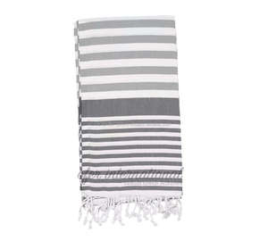 Turkish Beach Towels All Grey Stripes - PEST105GRY