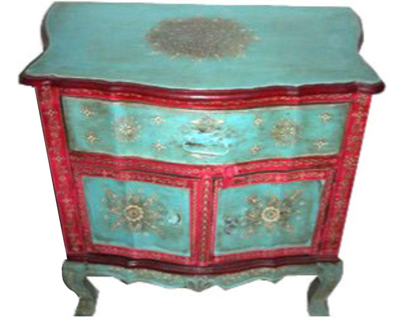 ANTIQUE 1 DRAWER CUPBOARD DESIGNER CHEST PAINTED